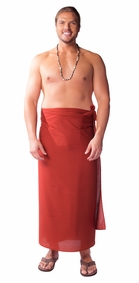 """Burgundy"" Solid Mens Sarong PLUS SIZE - Fringeless Sarong"