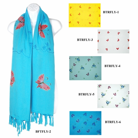 Butterfly Design with Sequined & Embroidered Double Width Scarf, Wrap or Shawl - in your choice of colors