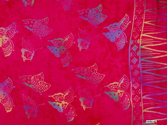 "Butterfly Sarong BF-2 ""Pink/ Light Blue"""