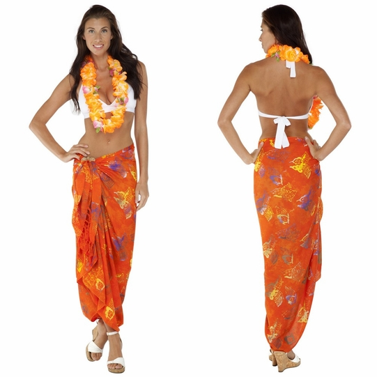 """Butterfly Sarong """"Orange / Multicolor"""""""