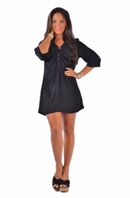 Button Down Solid Black Tunic Cover Up - Final Sale - No Returns