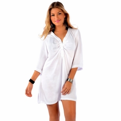 Button Down Solid White Tunic Cover Up - Final Sale - No Returns