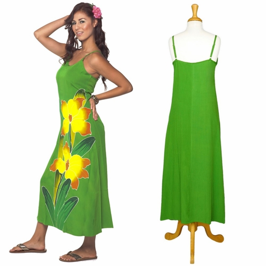 Casual Womens Long Dress with Hand Painted Orchid Design