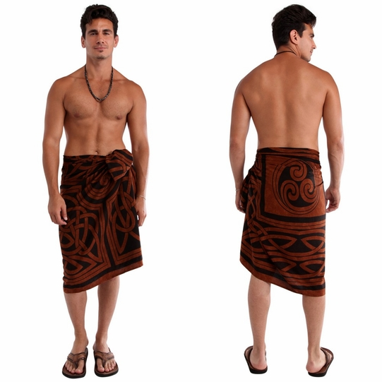 Celtic Circles Top Quality Sarong in Brown