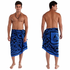 Mens Celtic Circles Top Quality Sarong in Cool Blue FRINGED