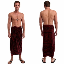 Mens Celtic Circles Top Quality Sarong in Merlot FRINGED