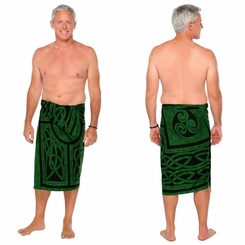 Celtic Circles Top Quality Mens Sarong in Emerald Green Fringed