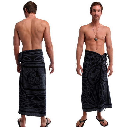 Celtic Circles Top Quality Mens Sarong in Slate Grey