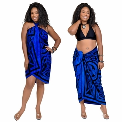 Celtic Circles Top Quality Sarong in Cool Blue FRINGED