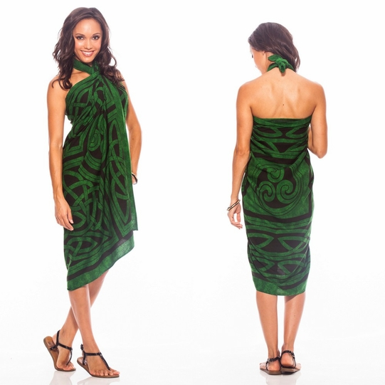 Celtic Circles Top Quality Sarong in Emerald Green FRINGED