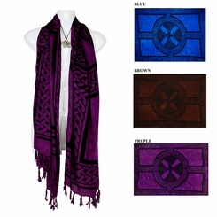 Celtic Cross & Circle Double Wide Scarf, Wrap or Shawl - in your choice of colors