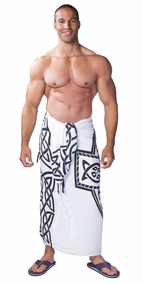 Celtic Cross Mens Sarong in White