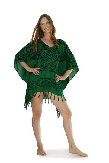 Celtic Fringed Poncho in Celtic Cross 1 Emerald Green