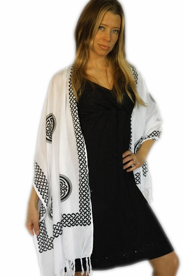 "Celtic Knot Scarf / Sarong ""White"""