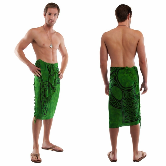 "Celtic Mens Sarong ""Celtic Cross 1"" Emerald Green"