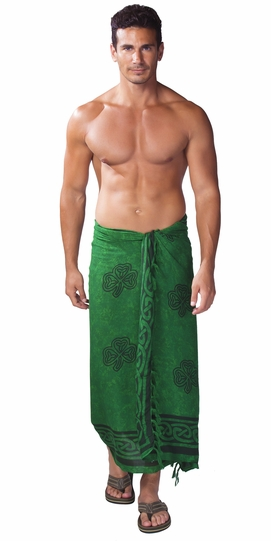 "Celtic Mens Sarong ""Shamrock Trinity"" Green"