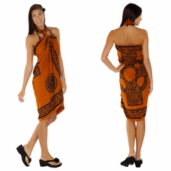"Celtic Sarong ""Celtic Cross 2"" Burnt Orange"