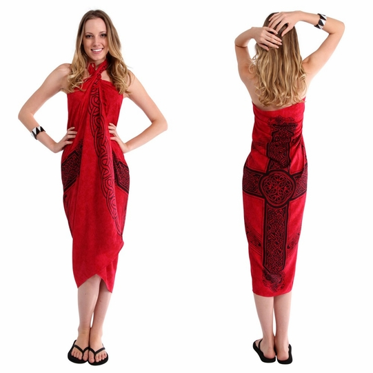 Celtic Sarong Celtic Cross 3 - Red