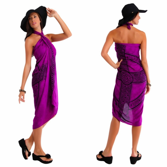 Celtic Sarong Celtic Cross 3 - Royal Purple