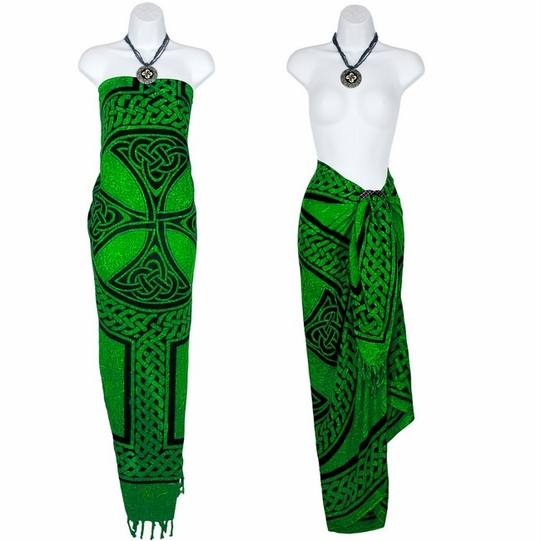 "Celtic Sarong ""Celtic Cross and Circle"" Green"