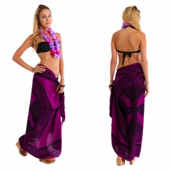 "Celtic Sarong ""Celtic Cross and Circle"" Purple"