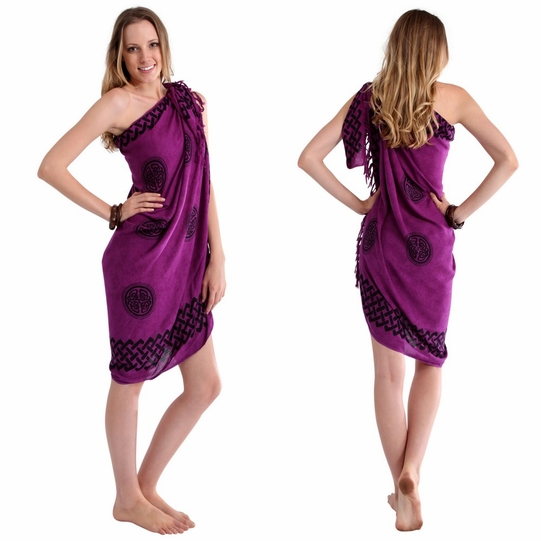 Celtic Sarong in Interlace Knotwork Royal Purple