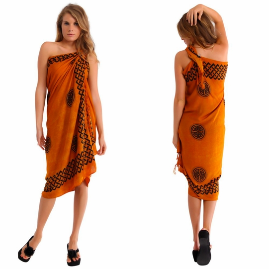 "Celtic Sarong ""Interlace Knotwork"" Burnt Orange"