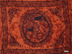 """Celtic Sarong, """"Maiden and The Dragon"""" Burnt Orange"""