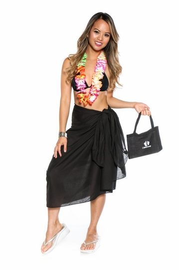 Cotton Sarong in Black with Free Sarong Bag