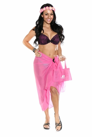 Cotton Sarong in Hot Pink with Free Sarong Bag