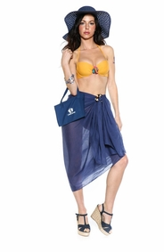 Cotton Sarong in Navy Blue with Free Sarong Bag - Final Sale - No Returns