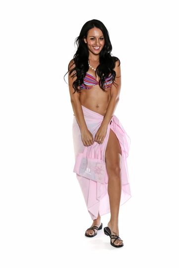 Cotton Sarong in Pink with Free Sarong Bag