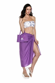 Cotton Sarong in Purple with Free Sarong Bag - Final Sale - No Returns