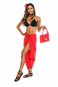 Cotton Sarong in Red with Free Sarong Bag - Final Sale - No Returns