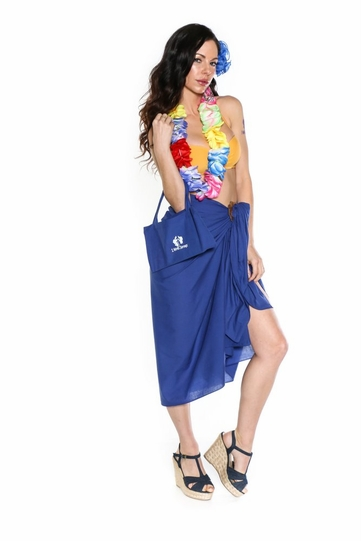 Cotton Sarong in Royal Blue with Free Sarong Bag - Final Sale - No Returns