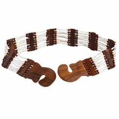 Eight Row White Bead-Wood Belt