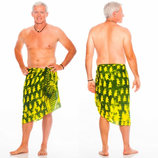 "Elephant Mens Sarong ""Lemon and Lime"""