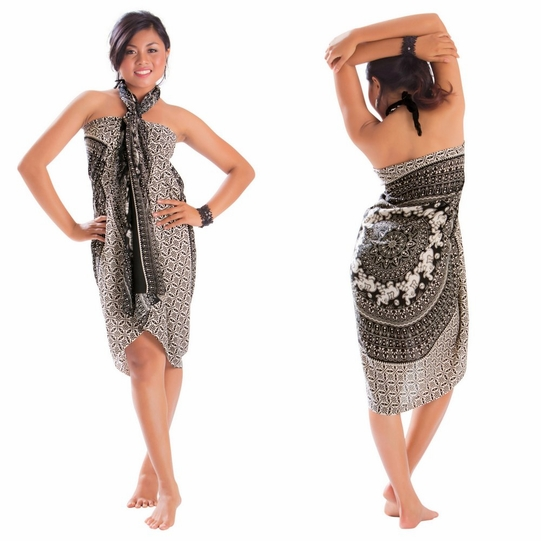 Elephant Sarong in Black and White