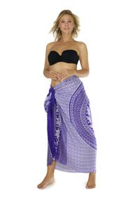 Mandala Sarong with Elephants in Purple