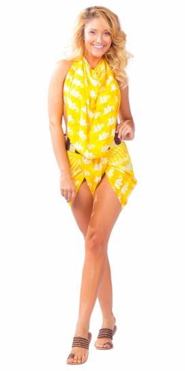 Elephant Sarong in Yellow - Final Sale - No Returns