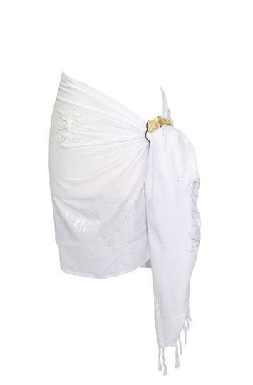 Embroidered Half Sarong in White