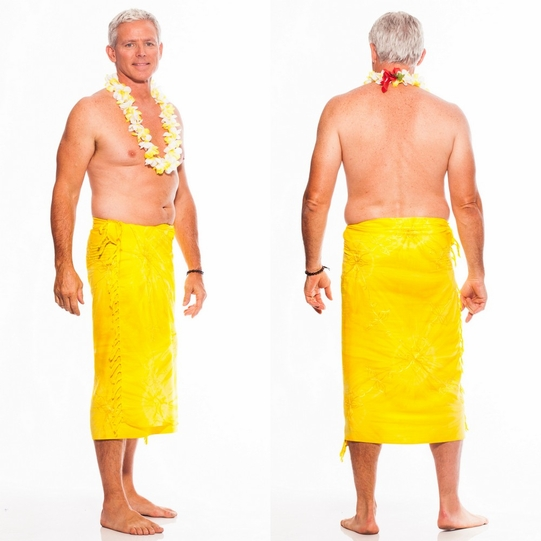 """Embroidered Tie Dye Mens Sarong """"Yellow"""""""