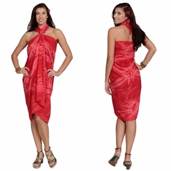 Embroidered Tie Dye Top Quality Sarong in Hot Red / Hot Pink