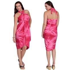 Embroidered Tie Dye Top Quality Sarong in Pink - Final Sale - No Returns