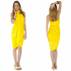 Embroidered Tie Dye Top Quality Sarong in Yellow