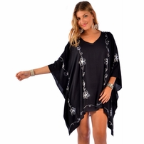Embroidered Poncho Cover-Up in Black and White