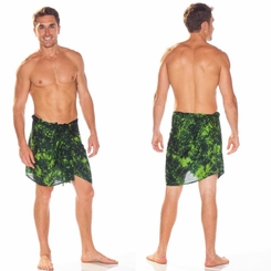 Mens Sarong Wrap Men's Half Sarong in Lime / Dark Green Smoked