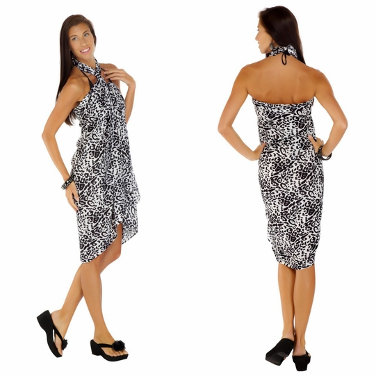 Feline Print Sarong in Black And White Fringeless