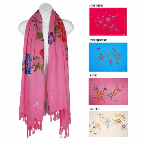 Floral Design Plus Sized Scarf, Wrap or Shawl with Sequins & Embroidered Design - in your choice of colors