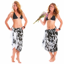 "Floral Sarong ""Classy Clarissa"" White and Black - Fringeless Sarong"